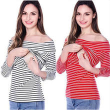 Maternity Nursing Tops 2019 Spring Breastfeeding Off  Shoulder Clothes for Pregnant Women Causual PregnancyT-Shirt B0015