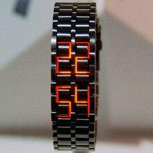 Fashion Black Full Metal Digital Lava Wrist Watch Men Red/Bl