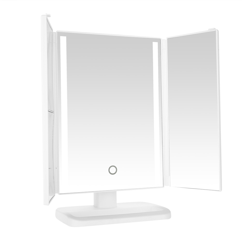 Makeup Mirror With LED Light Tri-Fold 24 LED Lighted Vanity Adjustable Cosmetic Make up Mirror Bathroom Desktop Mirror цена