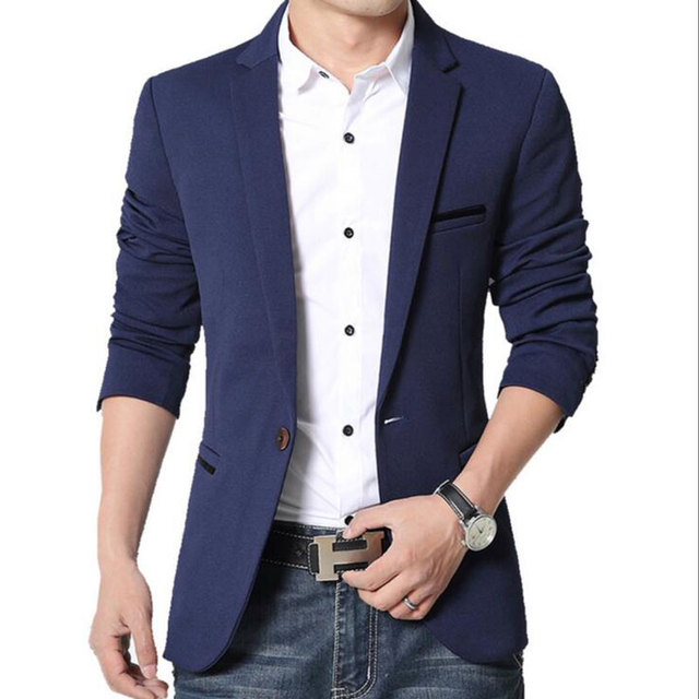RUBU Slim Fit Casual veste Coton Hommes Blazer Veste Unique Bouton Gris  Hommes Costume Veste Automne