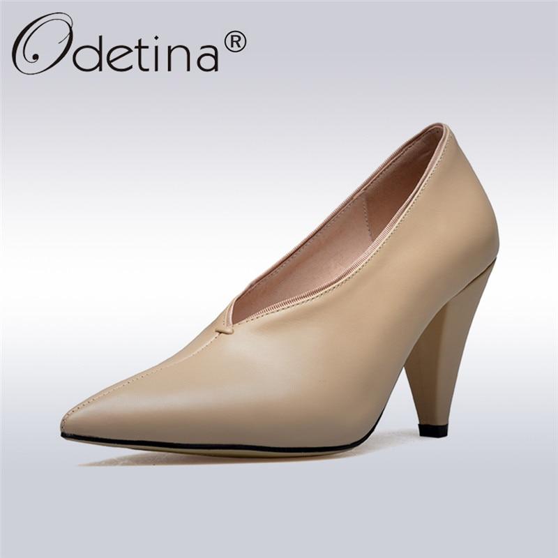 Odetina 2019 nouvelle mode en cuir véritable pompes femmes chaussures rétro talons hauts bout pointu dames chaussures décontractées de luxe grande taille 43