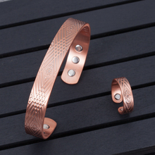 Jewelry-Sets Bangles-Rings Adjustable Vinterly Magnetic Copper for Women Health Open-Cuff