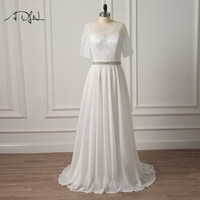 ADLN Plus Size Wedding Dresses With Sleeves New Style Modest Scoop A Line Chiffon Bridal Gown