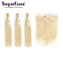 Sunper Queen 7A #613 Blonde Malaysia Human Virgin Hair Straight Bundles With Closure Human Hair Extension Free Shipping(China)
