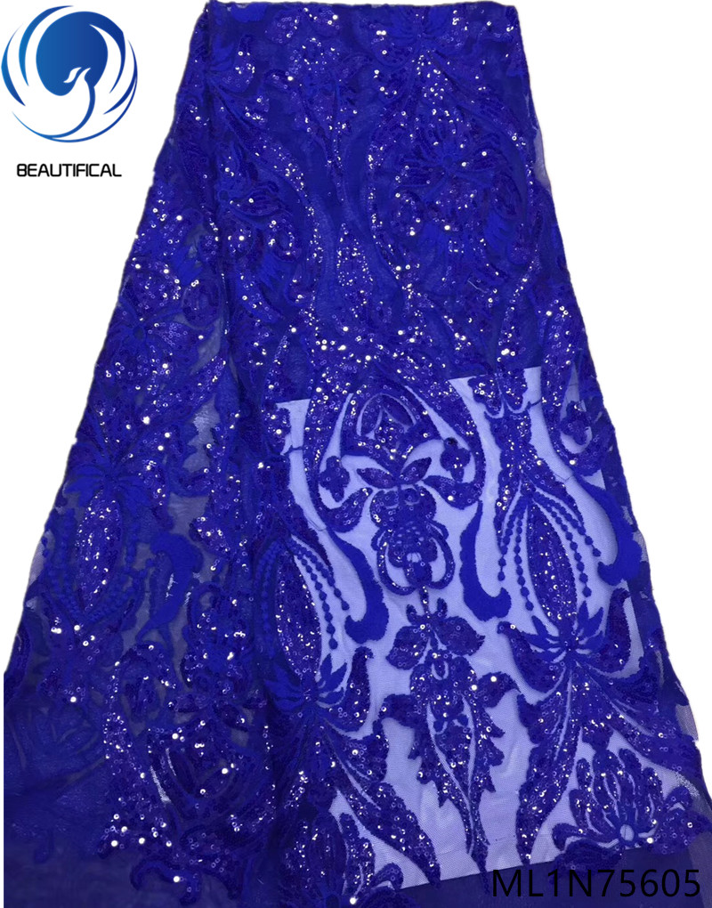 Beautifical african fabrics lace with sequins Latest style embroidery sequins french net lace fabric for dress 5yards ML1N756