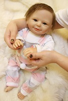 vinyl reborn doll kit DK 77 finished doll laugh toys for girls 18inch soft toys Silicone baby doll body clothes find an acrostic