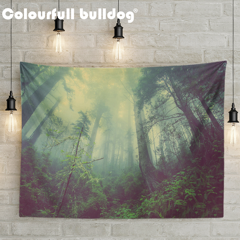 Beautiful Forest Sunset Scenic Living Room Decor Wall Hanging Tapestries Yellow Orange Maple Leaves Beach Blankets Tree Mountain
