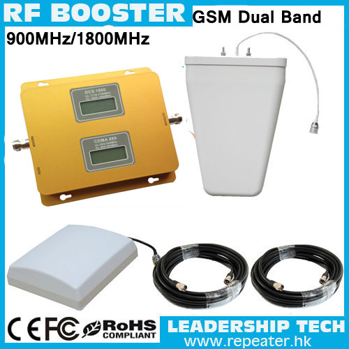 Wholesale RF GSM/DCS 900Mhz/1800Mhz LCD Cellular Mobile/cell Phone Signal Repeater Booster Amplifier Detector Antenna Cable
