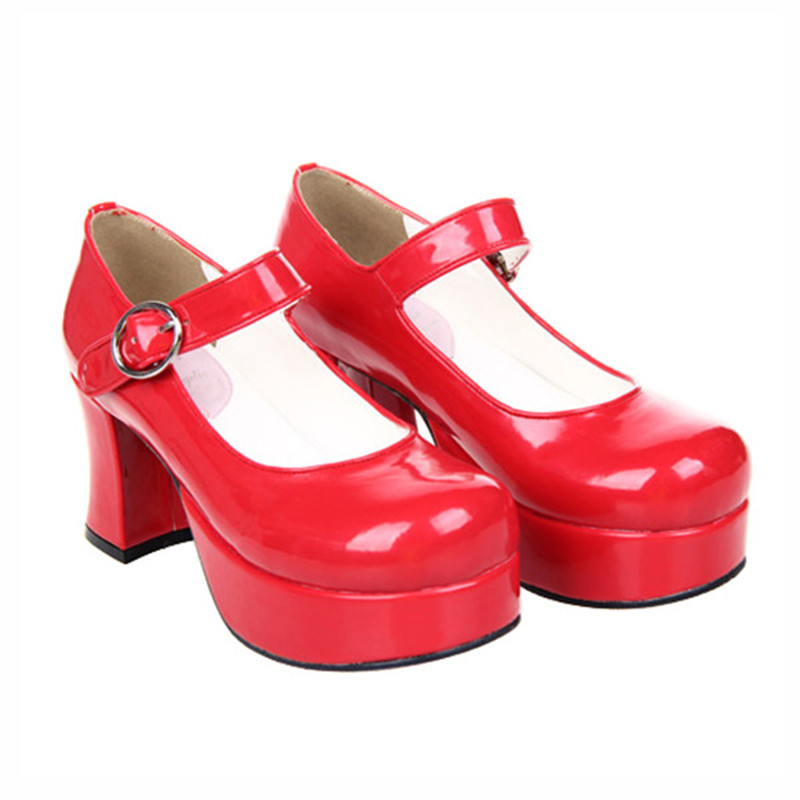 Japanese Lolita Shoes 7.5cm Chunky High Heel Thick Platform Queen Mary Jane Pumps