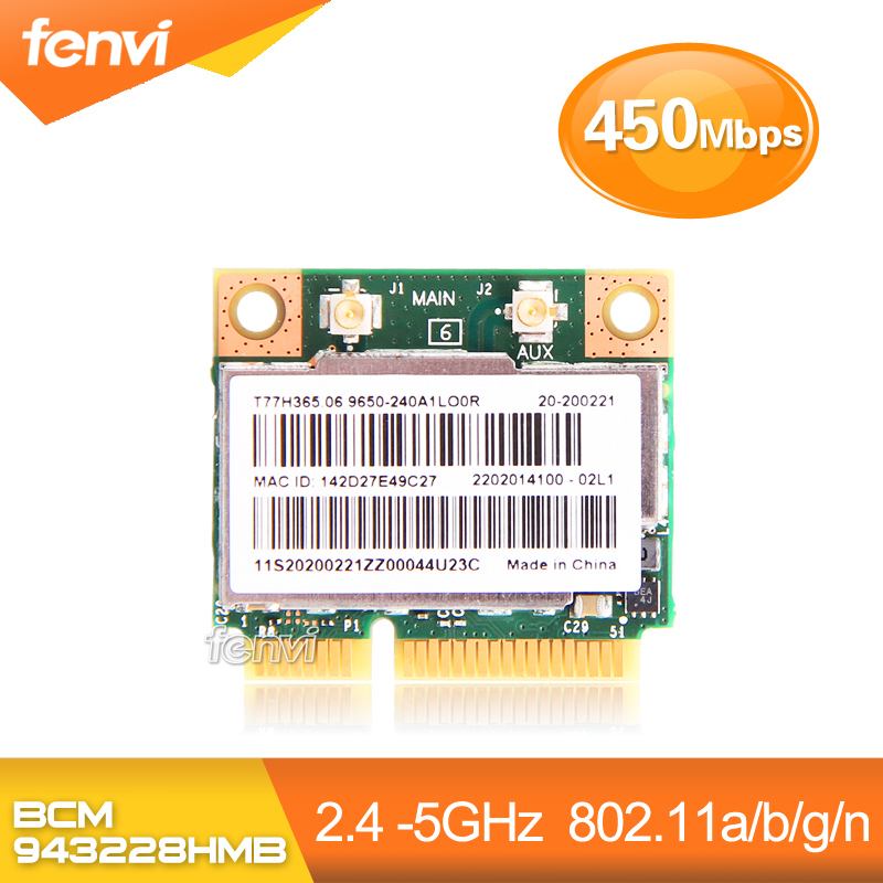 Dual Band Broadcom BCM943228HMB 802.11a/b/g/n 300Mbps Wifi Wireless Bluetooth 4.0 Half MINI pci-e Card Notebook Wlan 2.4Ghz 5Ghz broadcom bcm94331pciebt3b pci e 450mbps wireless bluetooth network card adapter for mac mini black