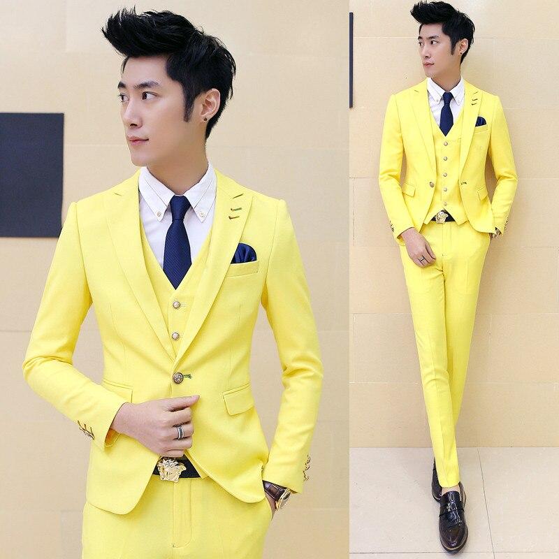 ( Suits + Vests + Pants ) 2018 New Pure Color Male Groom Wedding Dress Suits / Male Fine ...