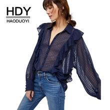 eba7b628fc HDY Haoduoyi Semi Sheer Ruffle Long Sleeve Turn Down Plaid Blouse Button  Down Chiffon Loose Sexy Summer Shirt For Women