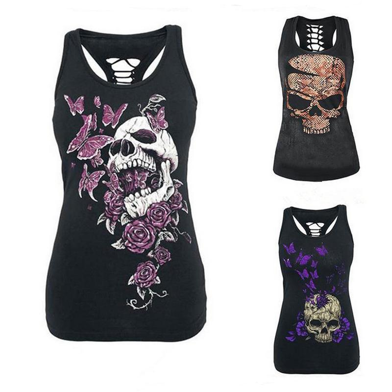 2017 Punk Rock T-Shirt Frauen Casual Schädel Print Floral T-shirt Aushöhlen Sleeveless Slim Fit Shirts Tops T-shirt