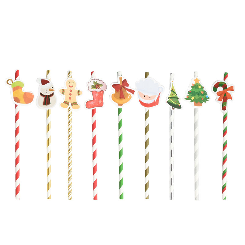 10Pcs/Lot Christmas Paper Straws For Wedding Birthday New Year Decor Santa Claus Snowman Christmas tree Drinking Straws