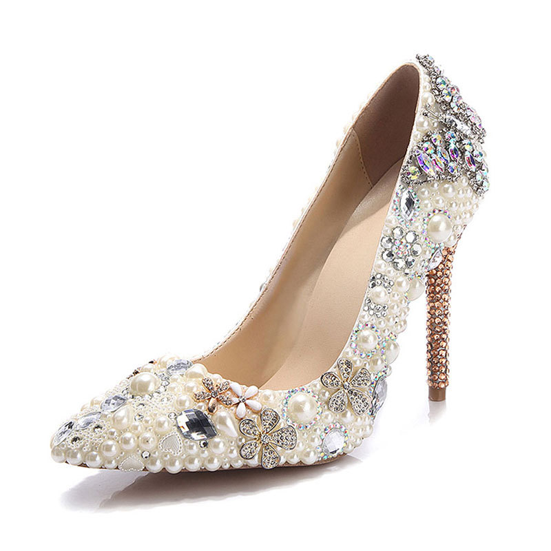 LSDN-20161101 European and American Color Diamond Pearl Pumps Super High Heel Butterfly Diamond Pattern Pointed Single ShoesLSDN-20161101 European and American Color Diamond Pearl Pumps Super High Heel Butterfly Diamond Pattern Pointed Single Shoes