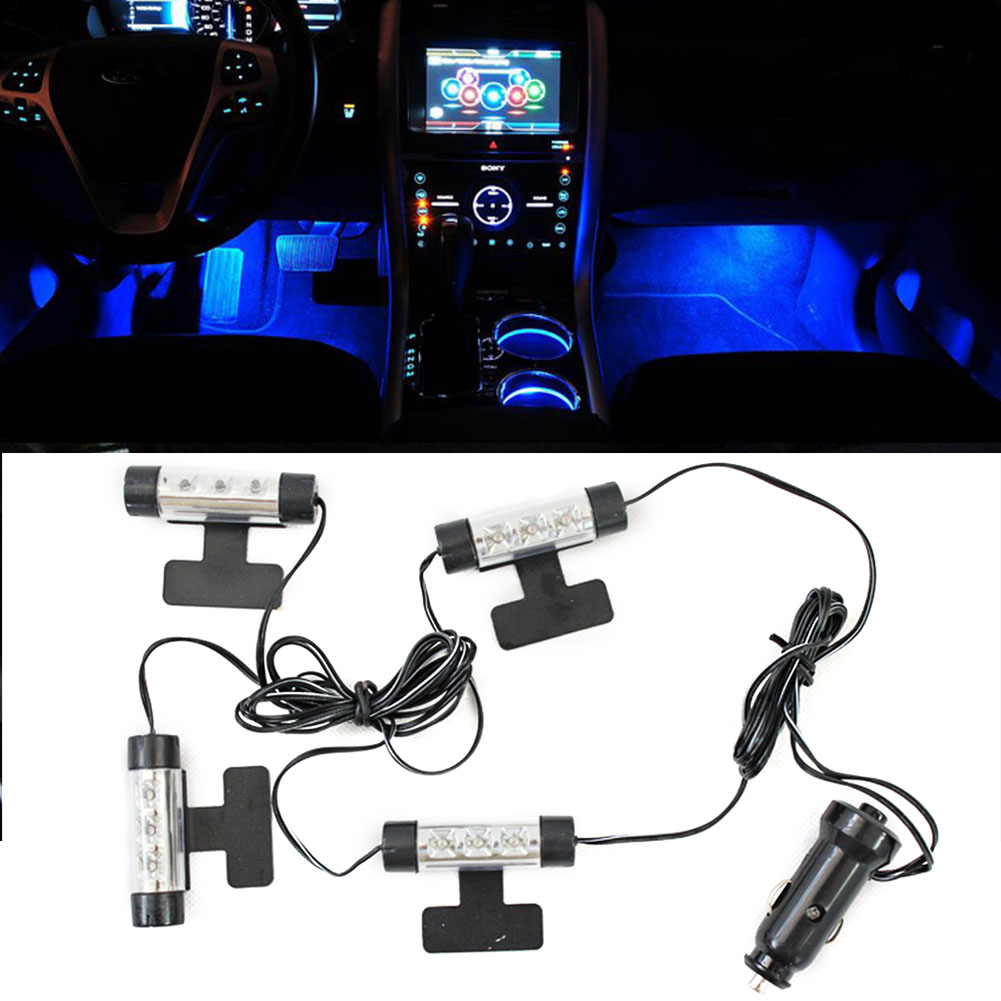 12LED Atmosphere Adjustable Decorative Light Blue Interior 12V Indoor 4 In 1 Mood Ambient Lamp ABS Styling Durable Car