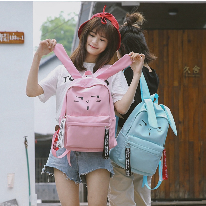 Women Japanese Harajuku Style Long Ears Rabbit Cutes Cartoon Backpack For Teenager Girls Student School Bag Travel Backpack Bag