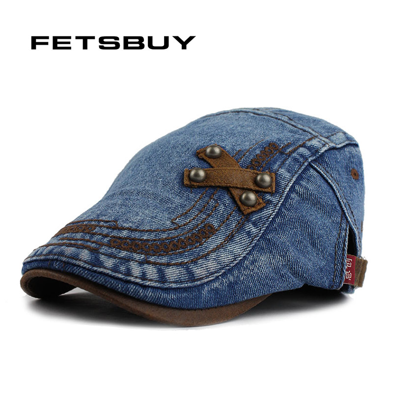 FETSBUY Fashion Spring Summer Jeans Hats for Men Women Quality Casual Unisex Denim Beret Caps ...