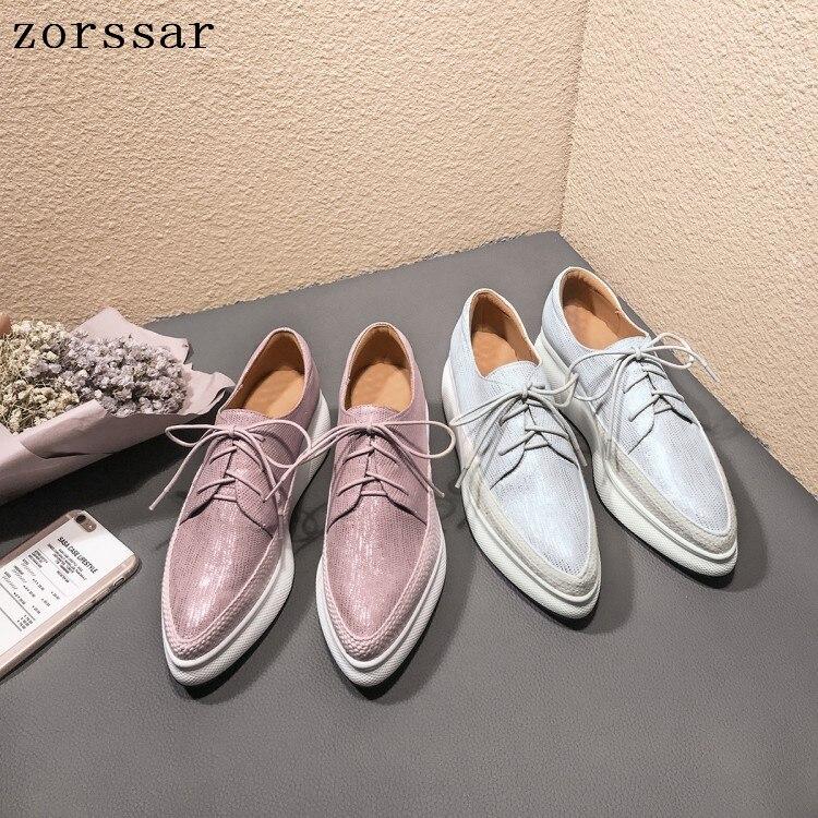 Zorssar 2019 femmes plate-forme chaussures femme mocassins zapatos mujer plate-forme à lacets pour dames chaussures décontracté appartements mocassins