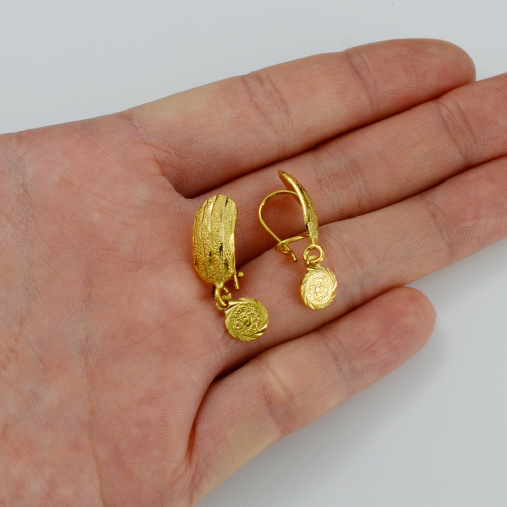 Anniyo Africa Coin Earrings For Women Gold Color Small Dubai Mteal Coins Arab Middle Eastern Jewelry 038906 In Stud From