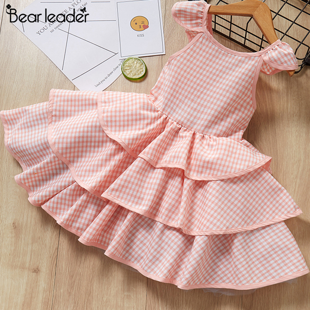 Bear Leader Girls Dress New Summer Casual Style Sweet Short Sleeve Floral Print Square Collar Design for Girls Clothes