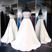 Real Photo A Line Wedding Dresses Delicate Beaded White Ivory Bridal Gown With Crystals Vestidos De