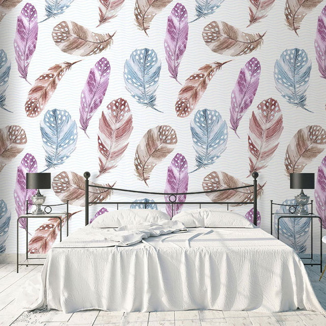 Feather Wallpaper Bedroom Children Wall Paper Self Adhesive Cloth Stickers Mural Home Decor