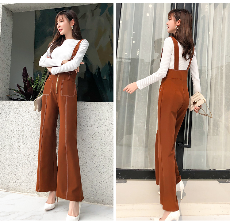 Pengpious winter new flare pants with zipper pockets and knit sweater long sleeves two pieces set fashion women 13