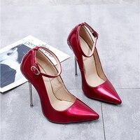 Туфли лодочки женская обувь на высоком каблуке красного цвета Лакированная кожа пикантные металлических шпильках Fenty Красота Ремешок на щи