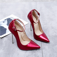 Pumps Women Shoes Red High Heels Patent Leather Sexy Metal Stiletto Fenty Beauty Ankle Strap Ladies Party Jelly Shoes Big Size