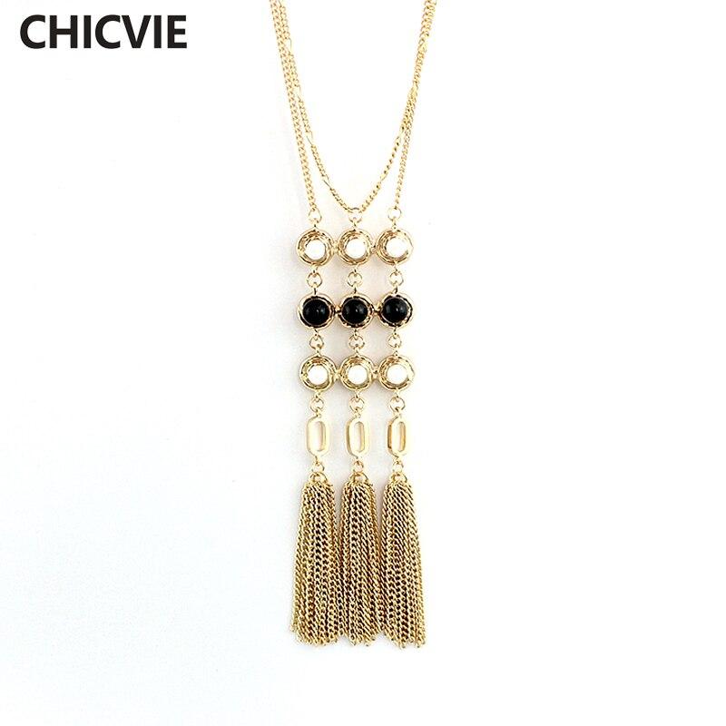 Купить chicvie ожерелья с длинным воротником и подвески золотого цвета