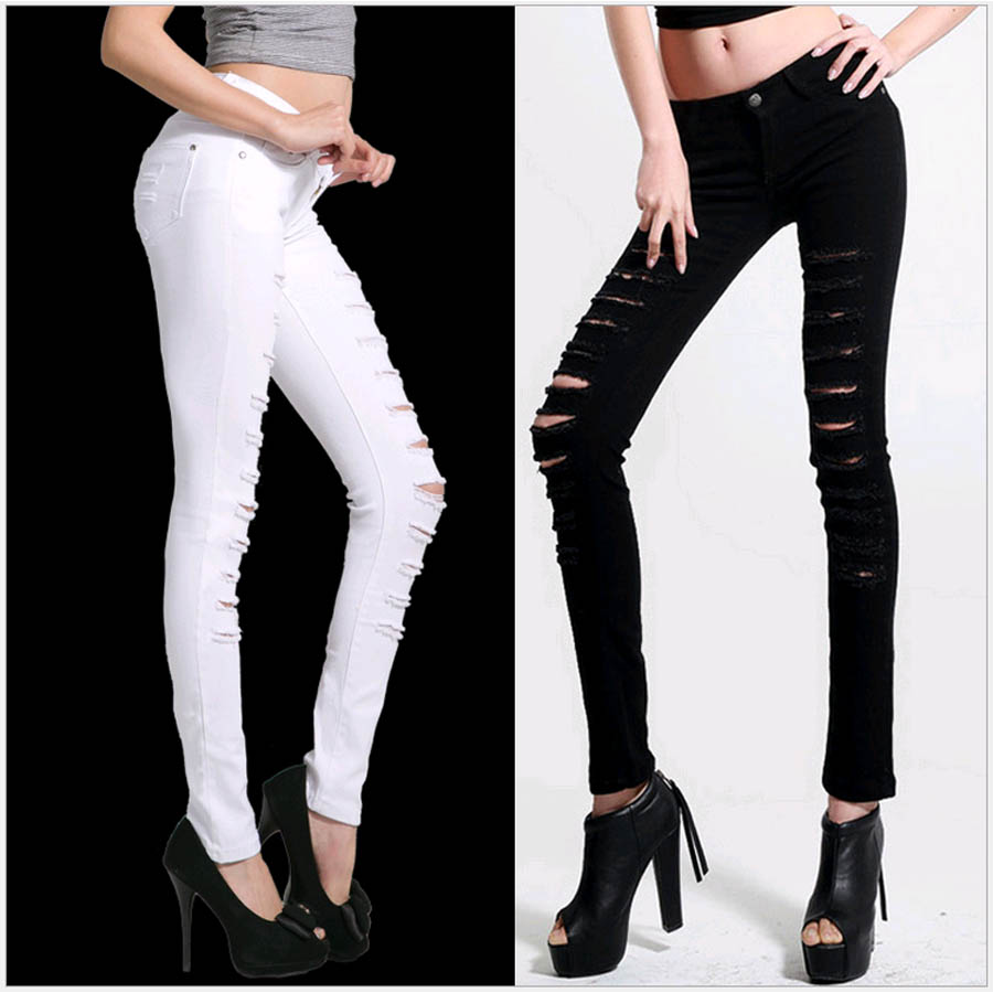Plus size New Women Fashion Skinny Jeans Long Pants with Hollow out and Destroyed pants for Girls Big size  Female Slim Capris inc international concepts plus size new charcoal pull on skinny pants 14wp $59