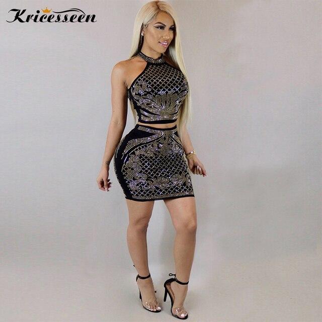 Kricesseen Sexy Off The Shoulder Nightclub Two Piece Bodycon Dress Womens  Gold Rhinestone Studded Two Piece Set Clubwear Vestido