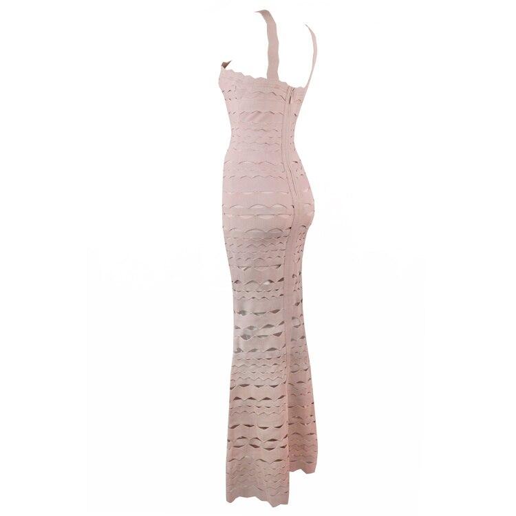 Sexy Évider Sirène Tenues Élégante Longue Bandage Soirée Halter Glamour De Rose Parti Dames Robe 1Rtxq0