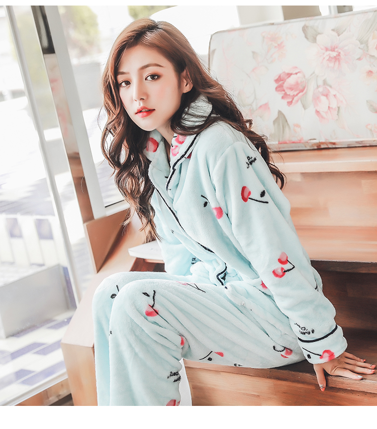 Plus Size 3XL 4XL 5XL Pajamas for women 2019 Winter Thicken Flannel pyjamas Long-sleeve lovely Sleepwear Coral Fleece Nightgowns 191