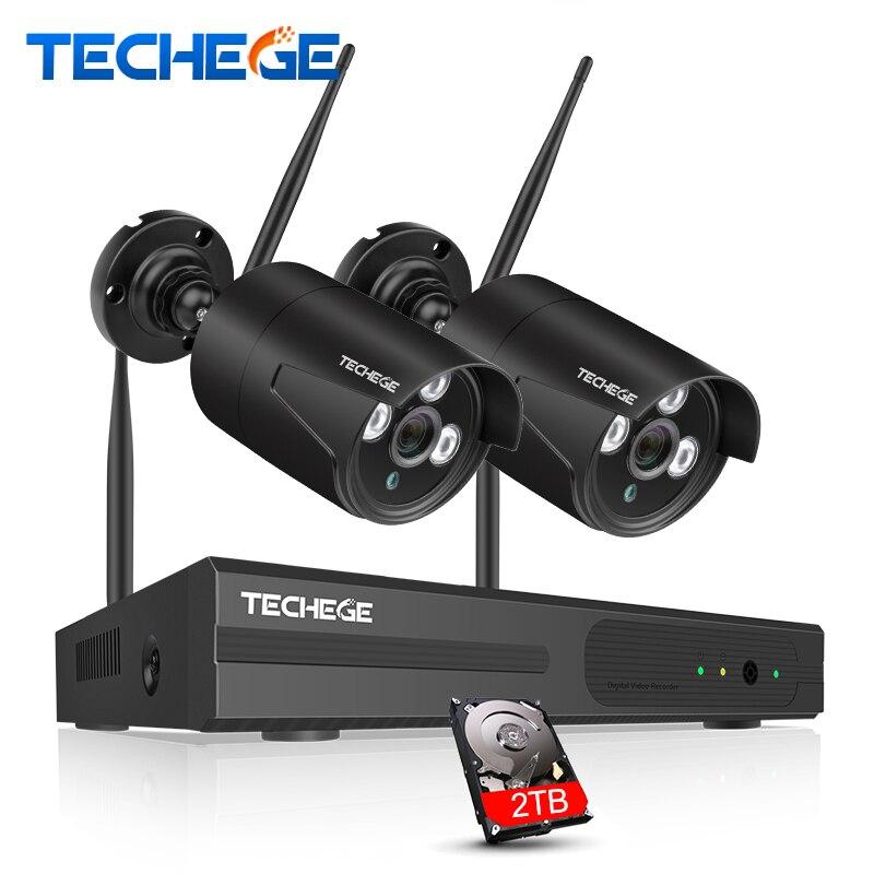 Techege 4CH WIFI CCTV Système Sans Fil NVR Kit 2 pcs 1080 p HD IP Caméra 2MP Extérieure Étanche de Sécurité À Domicile système de Surveillance