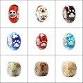 100% Sterling Silver 3D Flores Da Pata de Urso de Vidro Murano Beads Serve Europeu Pulseira Pulseiras Encantos Europeus DIY Jóias