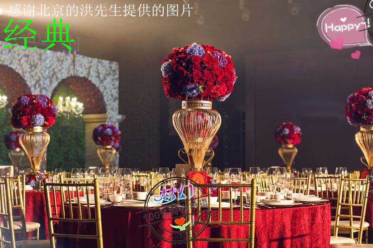 10 pcs biggest size 8ocm gold iron Wedding Centerpiece flower Vase wedding VIP table decorations