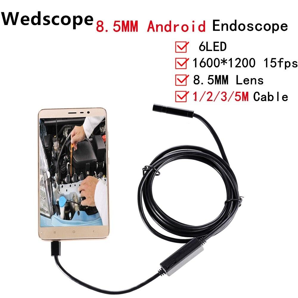 Wedscop HD 2MP 6 LED 8.5 мм объектив 1 м/2 м/3 м/5 м Android USB эндоскопа Водонепроницаемый Инспекции Borescope Камера OTG телефона Android
