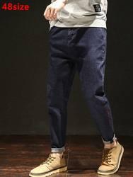 Новые весенние extra large джинсы для мужчин негабаритных свободные прямые повседневное Харен тенденция мотобрюки