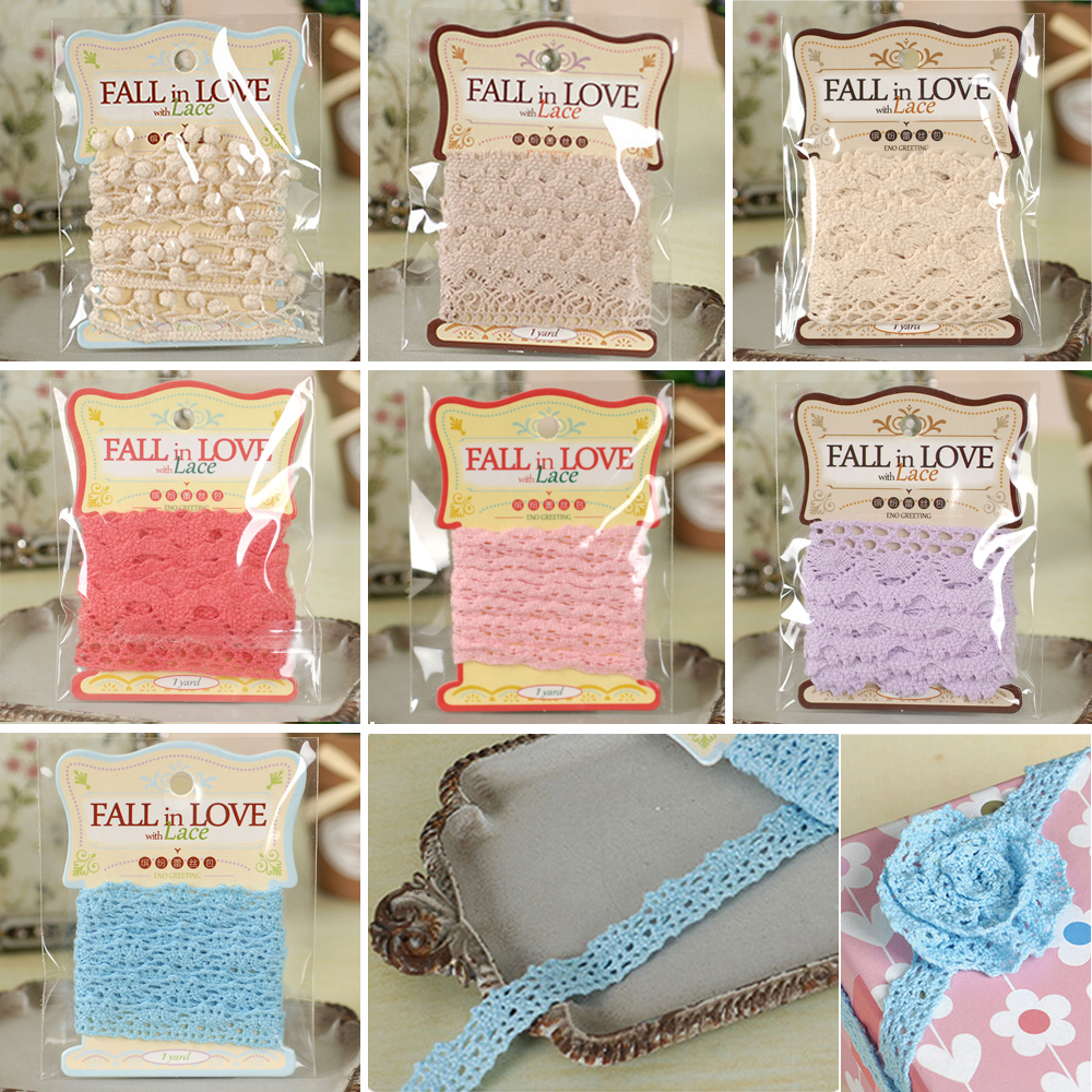 1 Yard Cotton Lace Pack For Scrapbook Embellishments Pink,blue,beige Lace Trims,Tiny Lace Edge