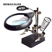 NEWACALOX EU Plug Multifuntion Welding Repair Magnifying Glass Hand Helping Auxiliary Clip Standing Style with LED Lamp