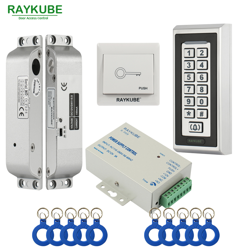 RAYKUBE FRID Access Control Kit Electric Mortise Lock + Metal Keypad Door Security For Single Or Double Door raykube door access control kit set electric bolt lock touch metal frid reader for office glass door