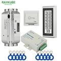 RAYKUBE FRID Kit de Controle de Acesso Porta de Segurança Fechadura de Encaixe Elétrico + Teclado De Metal Para Porta Única Ou Dupla
