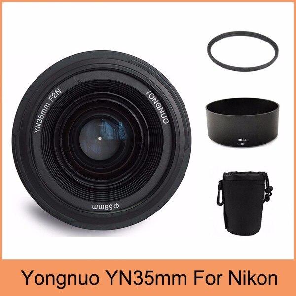 Yongnuo YN35mm F2 lens Wide-angle Large Aperture Fixed Auto Focus Lens + 58mm UV filter +lens bag +  Lens Hood For Nikon original yongnuo camera lens 35mm f2 for nikon large aperture auto focus lens for nikon 7000 d5100 d5000 d3100 d3000 d60