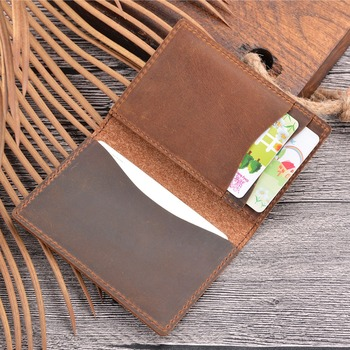 SIKU leather men's wallet case  handmade crazy horse id card holder distress card holder jmd crazy horse leather wallet embossed alligator pattern long wallet card holder 8067r