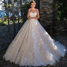 Loverxu Vestido De Noiva Милое Свадебное платье принцессы сексуальное кружевное свадебное платье трапециевидной формы с открытой спиной и аппликацией