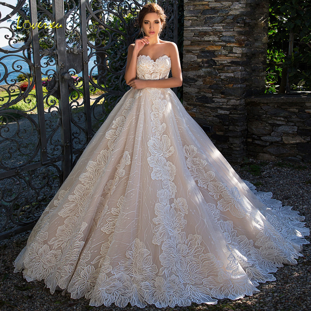 Loverxu Vestido De Noiva Querida Princesa Vestidos de Casamento 2019 Sexy Backless Apliques Tribunal Trem UMA Linha Lace vestido de Noiva