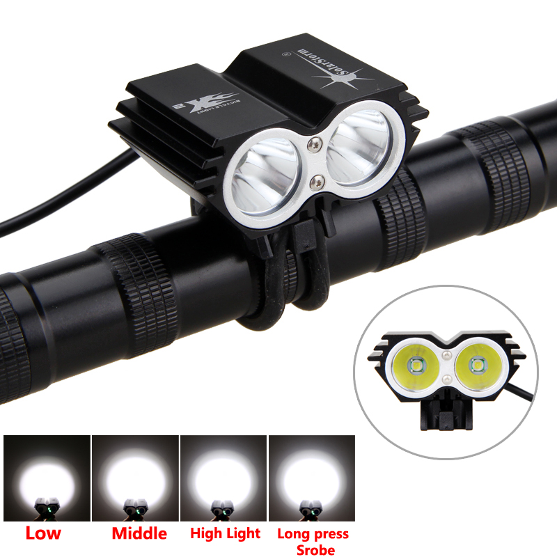 SolarStorm Bike Headlight   5000LM 2X XM-L U2 LED Torch Flashlight 3 Modes Cycling Lamp +Battery +Charger 3800 lumens cree xm l t6 5 modes led tactical flashlight torch waterproof lamp torch hunting flash light lantern for camping z93