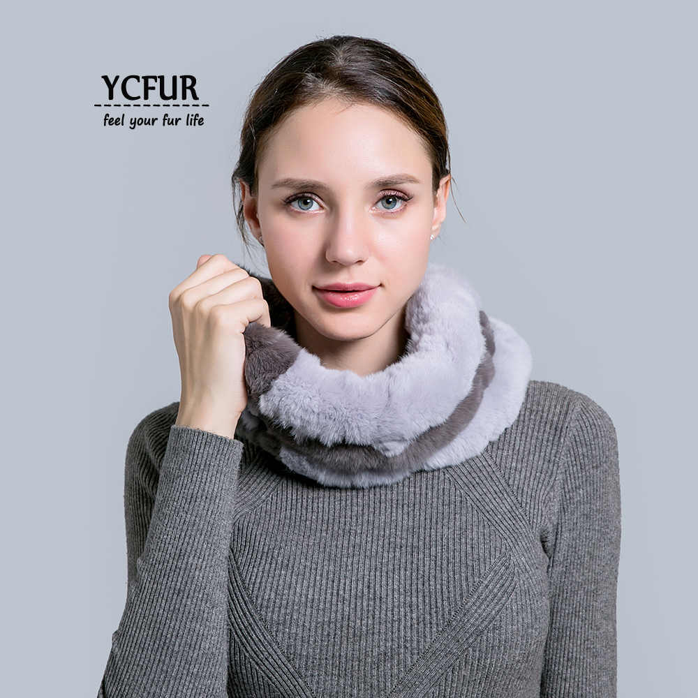 YCFUR Ring   Scarf   For Women Handmade Stripes Rex Rabbit Fur   Scarves     Wraps   Women Soft Warm Neck Warmer Ring   Scarf     Scarves   Female